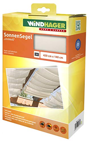 Sonnensegel für Seilspanntechnik 4,2 x 1,4 Meter in Uniweiß 10872 aus Polyester von Windhager