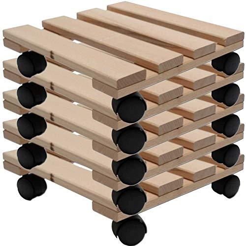 Pflanzenroller-Set aus Holz 30 x 30 cm belastbar mit 120 kg