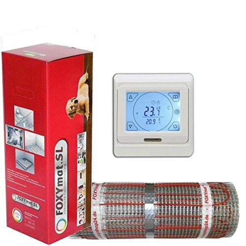 Elektrische Fußbodenheizung Art. FOXYMAT.SL RAPID mit Thermostat QM-Blue-TS mit 200 Watt pro Quadratmeter, 0,5 x 4 Meter von FOXYSHOP24