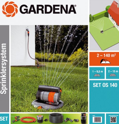 Komplettset Sprinklersystem mit Versenk-Viereckregner von Gardena