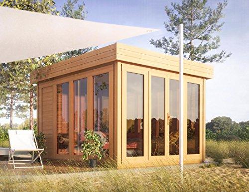 """Gartenhaus mit Flachdach """"Sonneninsel"""" aus 2,8 cm Blockbohlen von Steiner Shopping"""