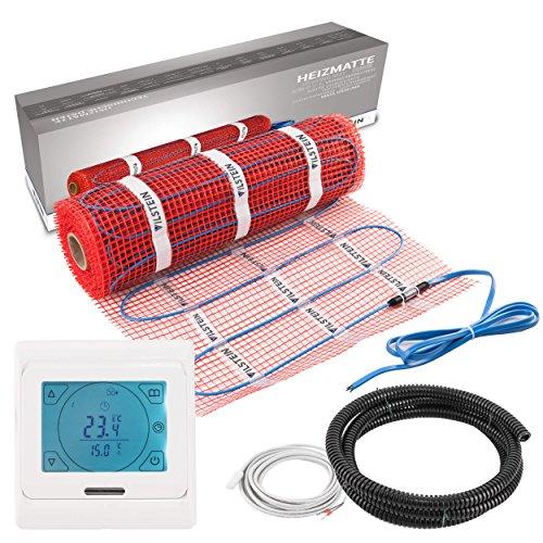 Elektrische Fußbodenheizung inkl. Thermostat 6 qm, 12 m lang und 0,5 m breit von VILSTEIN