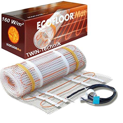 Elektrische Fußbodenheizung  mit 160 Watt je Quadratmeter, 2 qm = 4 Meter Länge von ECOFLOOR