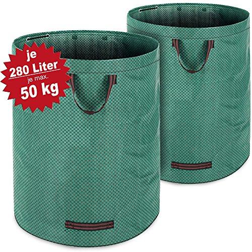 2 hochwertige Laubsäcke mit 280 l Volumen aus wasserabweisendem Gewebe von Deuba