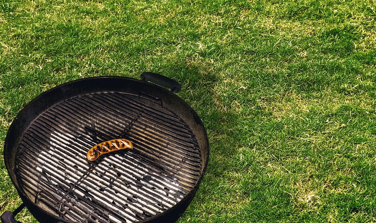 Sommer Rasen Rasenpflege Hitze Grill Bratwurst Trockenheit